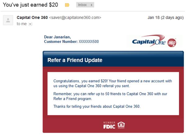 Письмо рефералу, подтверждающее получение им поощрения (Capital One)