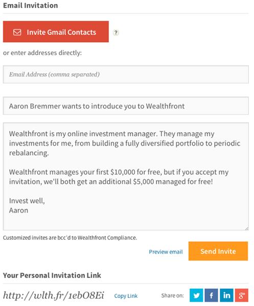 Редактируемый шаблон текстового приглашения по почте (Wealthfront)