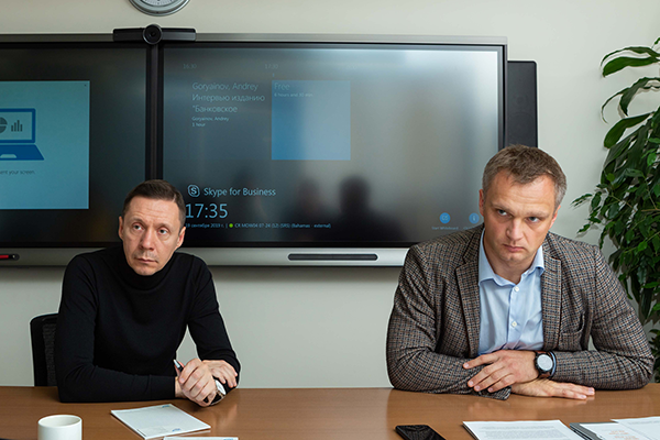 Слева направо: Антон Куклин (Brand Analytics), Андрей Горяйнов (SAP CIS). Фото: Елена Сычева / «Б.О»
